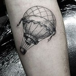 dotwork hot air balloon tattoo design