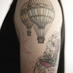 lovely hot air balloon tattoo design
