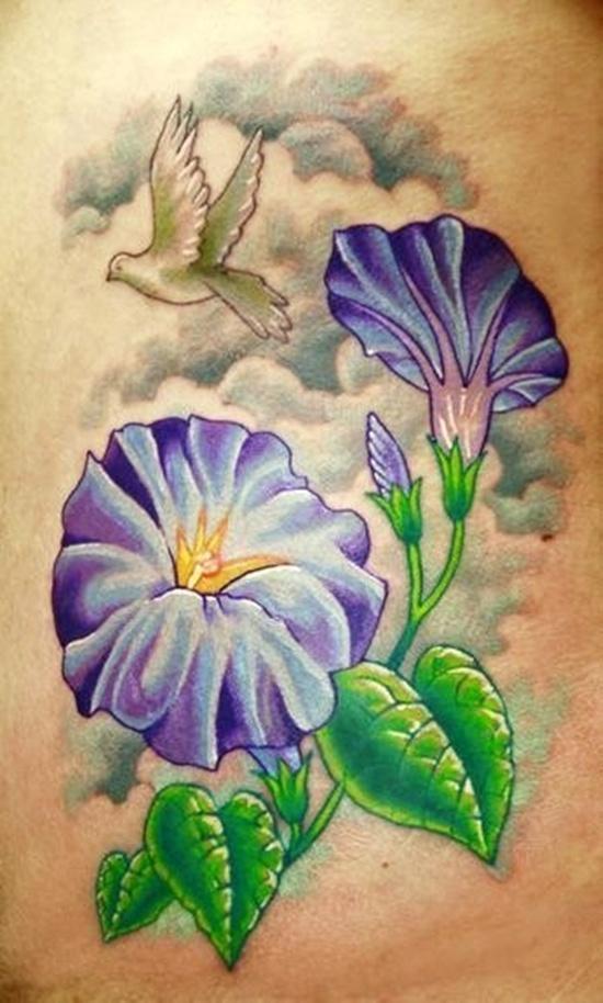 amazing morning glory tattoo design design of tattoosdesign of tattoos rh designoftattoos com Morning Glory Tattoo Designs for Women Morning Glory Vine Tattoo Designs