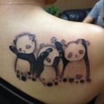 tattoo design of three panda bears