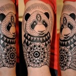 black ink panda bear tattoo