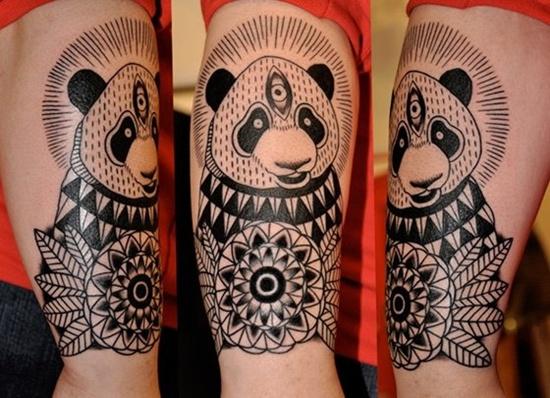 Black Ink Panda Bear Tattoo Design Design Of Tattoosdesign Of Tattoos