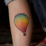simple and colourful hot air balloon tattoo