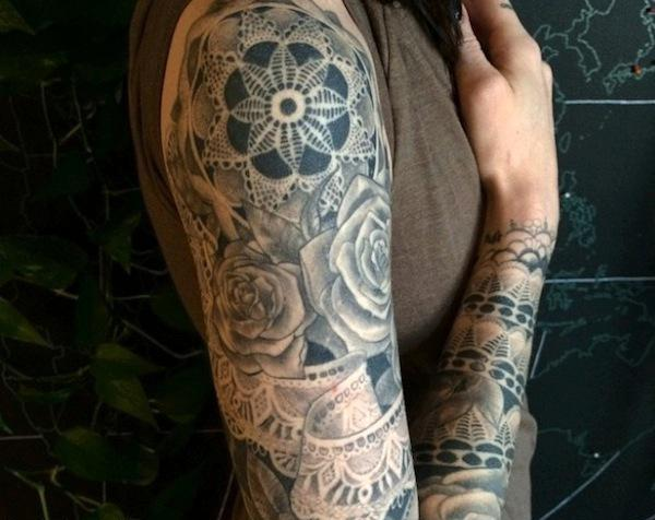 Stephanie Brown baroque full sleeve tattoo design for women