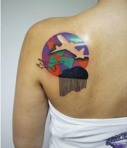 Aline Wata airplane tattoo