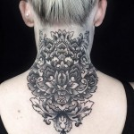 baroque tattoo design on neck