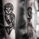 Kamil Czapiga cute owl tattoo design in black