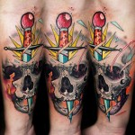 horror skull tattoo design by Lehel Nyeste