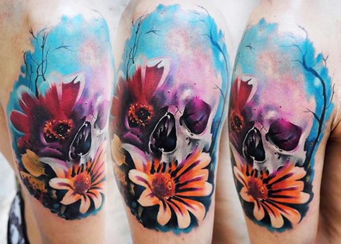 realistic skull tattoo design by Lehel Nyeste