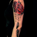 red rose baroque tattoo design