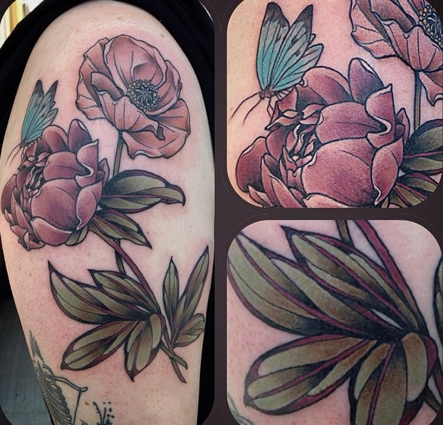 sleeve tattoo by Alice Kendall