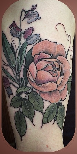 Alice Kendall feminine flower tattoo design
