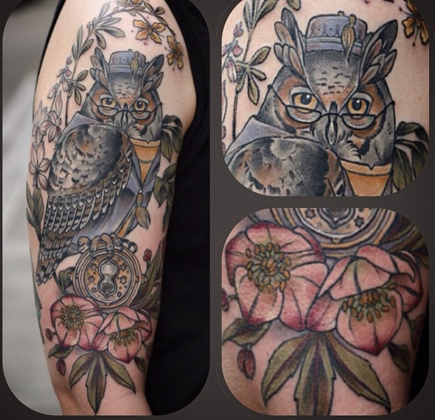 Alice Kendall owl and flower tattoo design