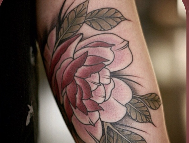 Alice Kendall rose tattoo design on arm