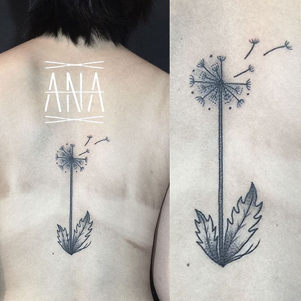 Ana Work beautiful dandelion tattoo