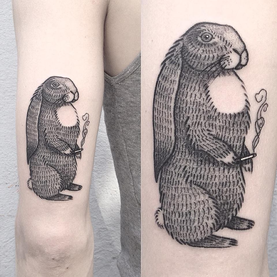 Ana Work interesting rabbit tattoo