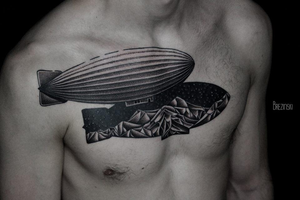Ilya Brezinski chest tattoo design