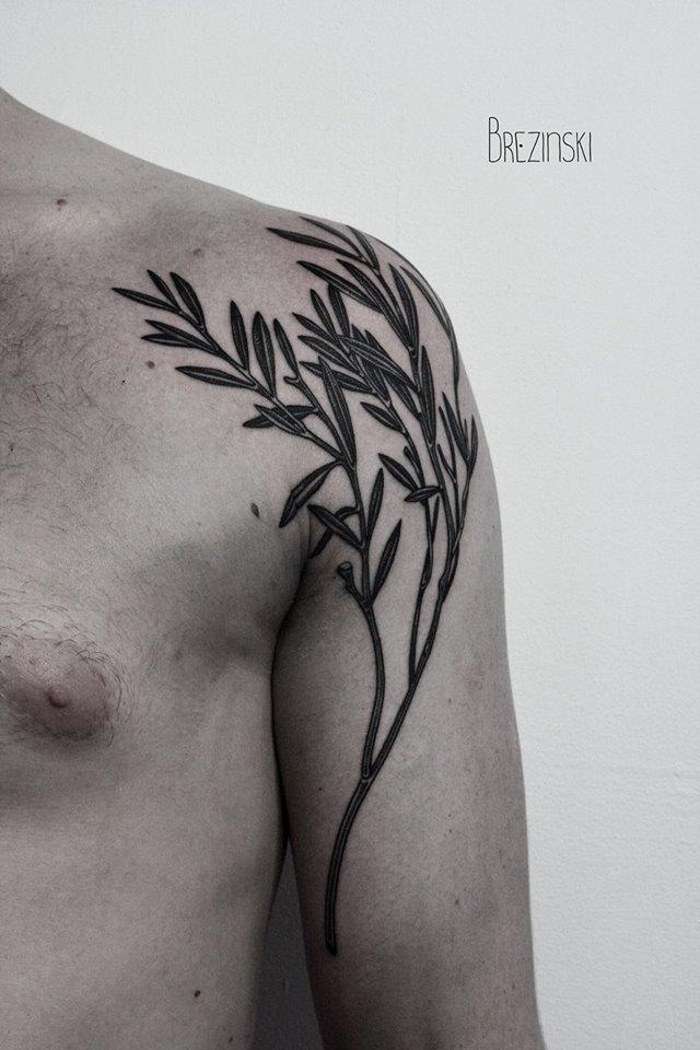 Ilya Brezinski creative shoulder tattoo design