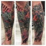 Lukasz Kaczmarek leg tattoo design