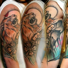 Lukasz Kaczmarek lion full sleeve tattoo design