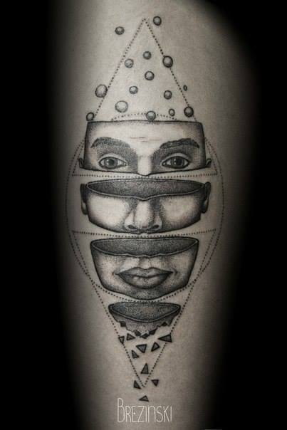 spectacular black and white tattoo by Ilya Brezinski