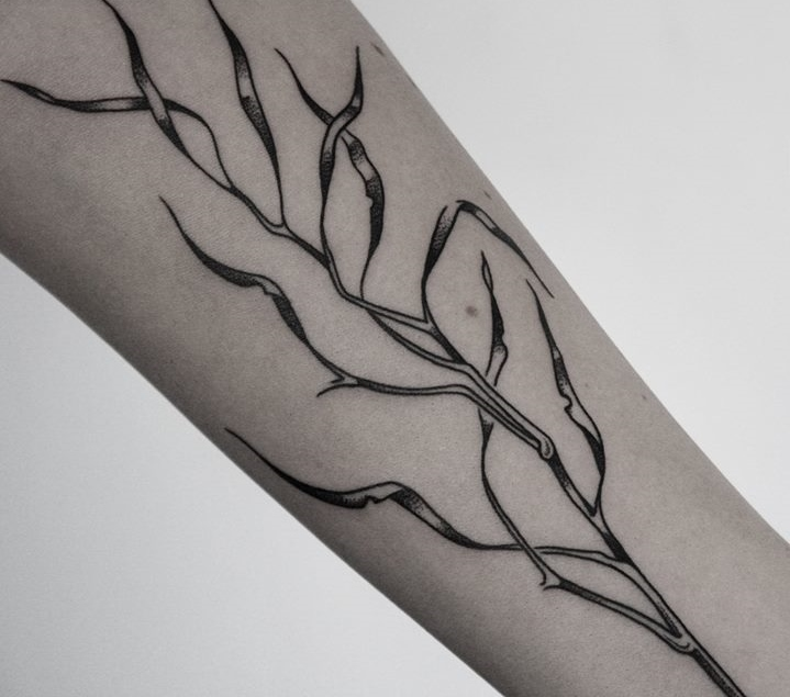 black and white tattoo designed by Ilya Brezinski