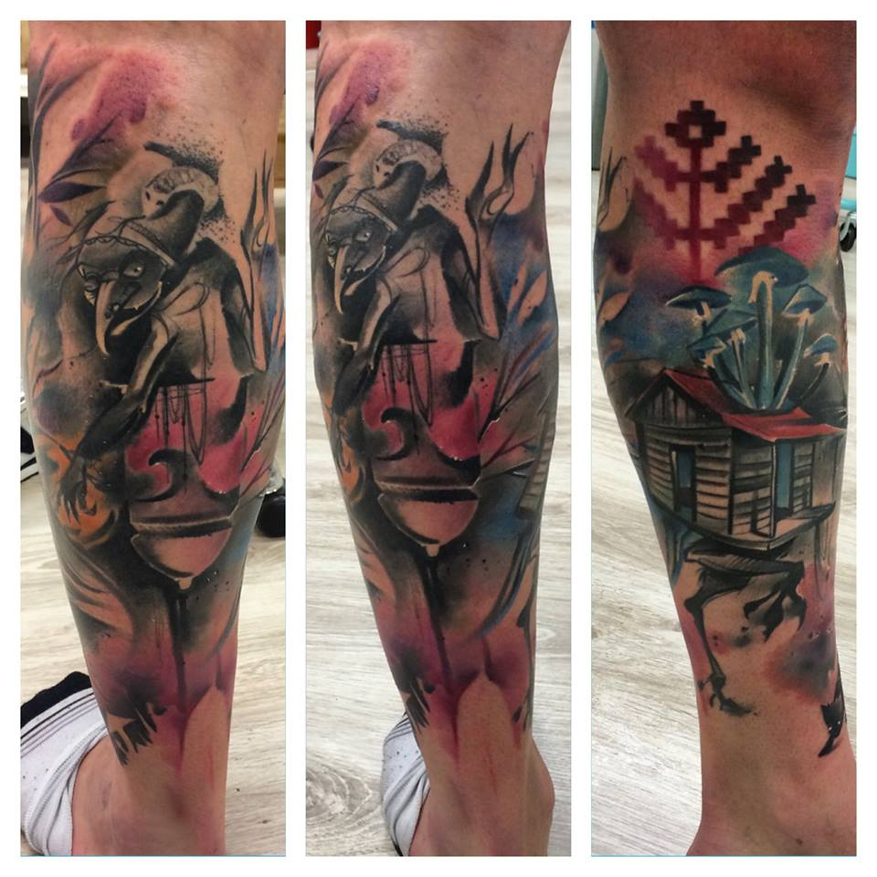 Lukasz Kaczmarek tattoo designed on leg