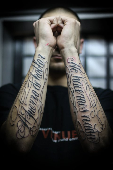Sadhu le Serbe text tattoo design