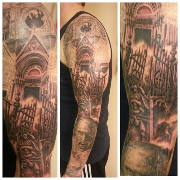 horror cemetery tattoo designed by Dennis Paul Kline