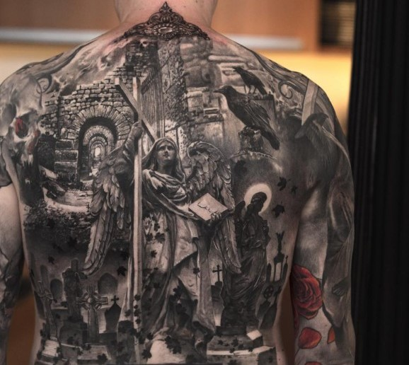 Niki Norberg full back cemetery tattoo design