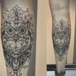 Diana Severinenko leg tattoo design