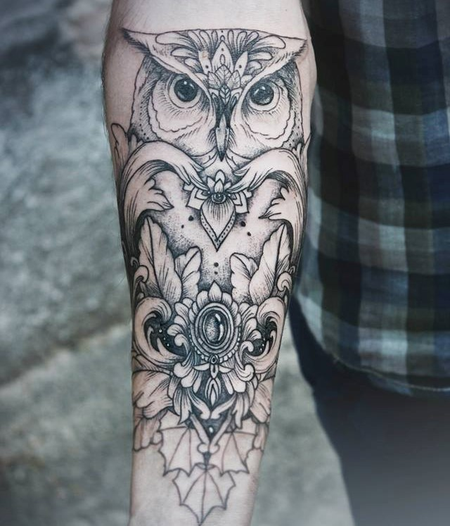 Diana Severinenko owl tattoo design