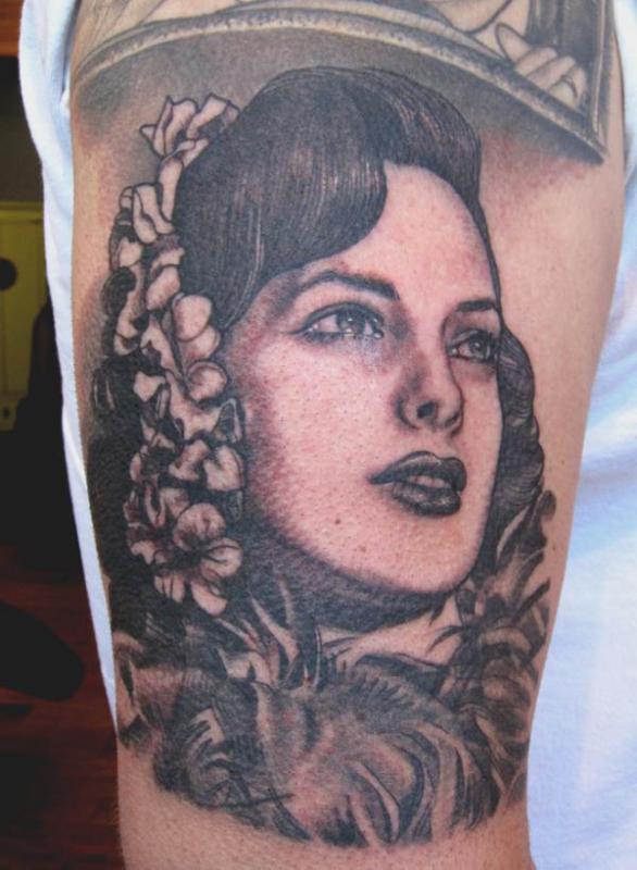 vintage woman portrait tattoo design design of tattoosdesign of tattoos. Black Bedroom Furniture Sets. Home Design Ideas