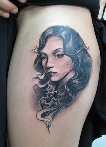 romantic portrait tattoo design