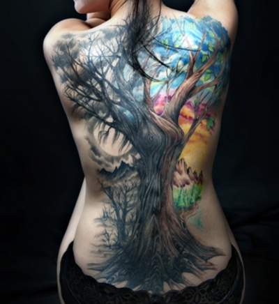 Colored back full tattoo