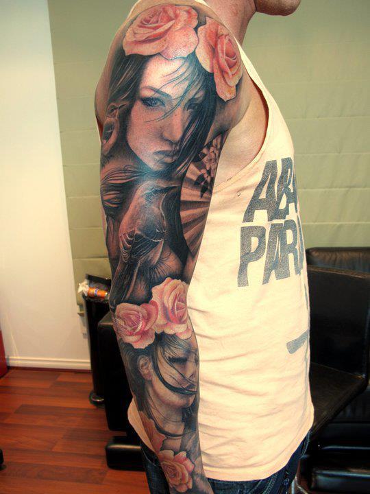 Portrait sleeve tattoo on blossoms