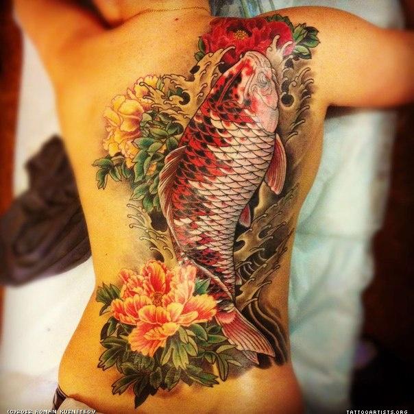 Detailed koi tattoo