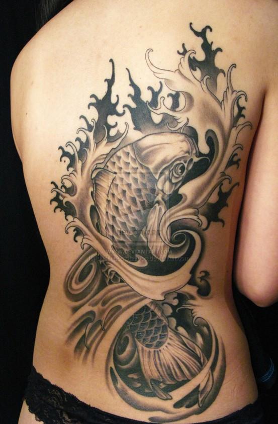 Koi tattoo in black and white