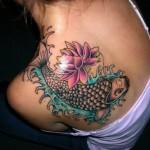 Koi fish and lotus tattoo