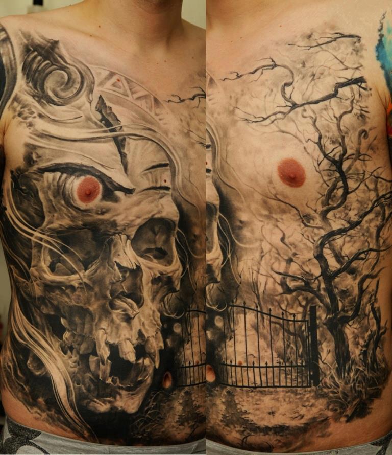 Chest skull tattoo