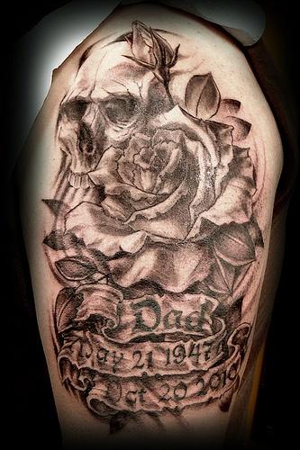 Dad memorial skull tattoo