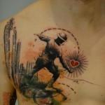 Abstract tattoo on leg
