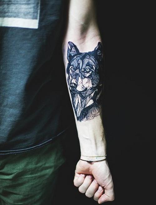Black Wolf Tattoo on Wrist
