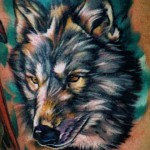 Great Colorful Wolf Tattoo