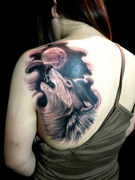 Wolf Tattoo on Full Moon