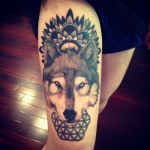 Indian Pattern and Wolf Tattoo