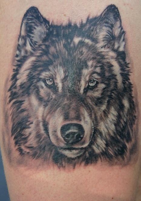 Detailed Wolf Tattoo