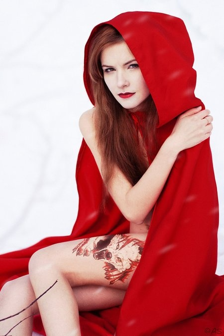 Red Riding Hood with Big Bad Wolf tattoo
