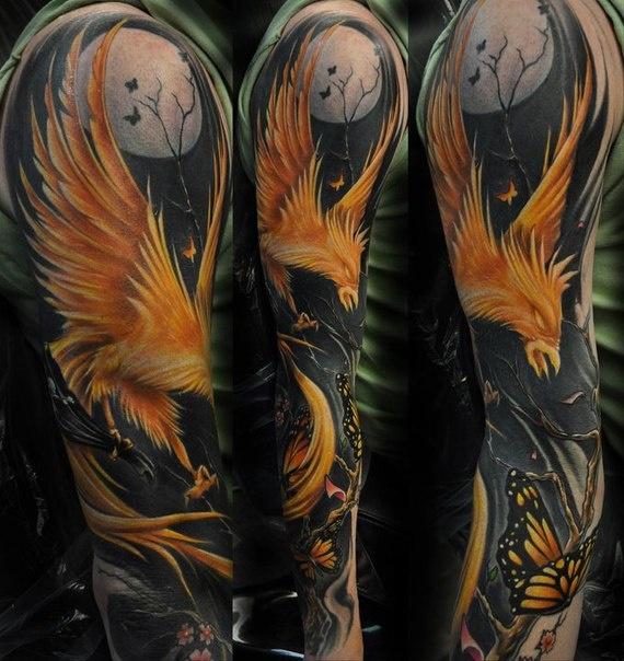 Best Phoenix Sleeve Tattoo