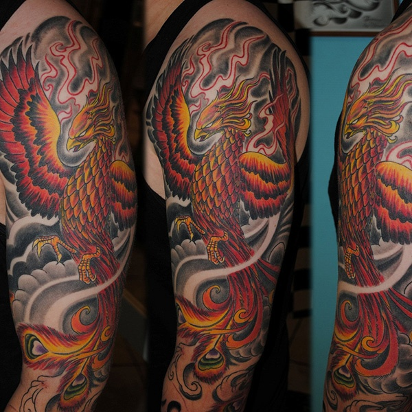 Full Sleeve Phonix Tattoo